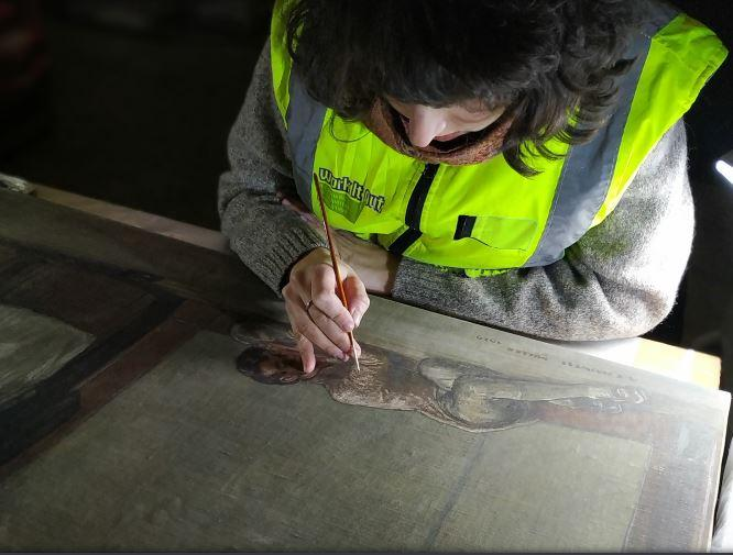 Conservation Treatment on Haswell Miller's Painting 'The Barred Door'